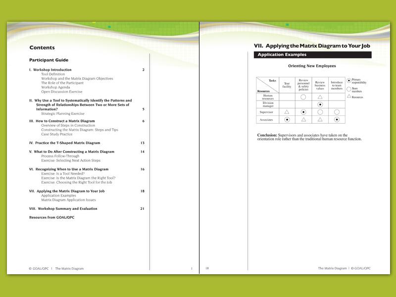 7mp Tools Matrix Diagram Participant Guide  U2013 Goal  Qpc